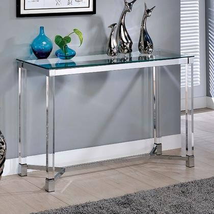 Furniture Of America Simran Collection Cm4384s 3a 42 Sofa Table With 8mm Gl Top Clear Acrylic