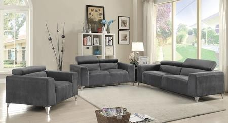 Glory Furniture G333SET 3 PC Living Room Set With Sofa + Loveseat +  Armchair In Grey Color