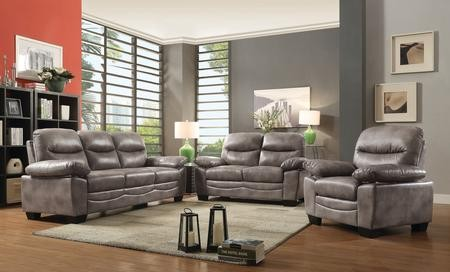 Glory Furniture G676SET 3 PC Living Room Set With Sofa + Loveseat +  Armchair In Grey Color