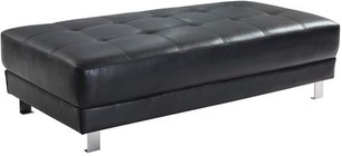 "Glory Furniture Milan Collection G448-O 57"" Ottoman with Tufted Design  Chrome Metal Legs and Faux Leather Upholstery in Black Color"