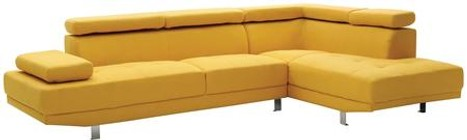 "Glory Furniture Milan Collection G446-SC 109"" Sectional Sofa with Tufted Design  Chrome Metal Legs  Adjustable Armrest  Adjustable Headrest and Twill Fabric Upholstery in Yellow Color"
