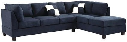 "Glory Furniture G630B-SC 111"" Sectional Sofa with Comfortable Tufted Seating  Reversible Cushions  Removable Backs/Arms and Suede Upholstery in Navy Blue Color"