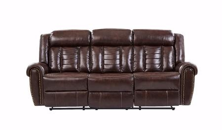 Global Furniture Usa U2101b Choc Rs 88 Reclining Sofa With Leather Gel Upholstery Rolled Armrests Decorative