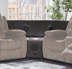 """Global Furniture USA U3118C-SUBARU COFFEE-W W/ STEREO 61"""" Stereo Speaker Wedge with Bluetooth Support and PU Upholstery in Brown"""