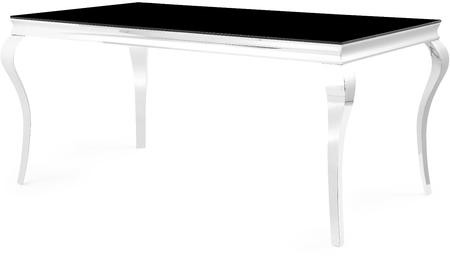 Global Furniture Usa D858dt 74 Dining Table With Black Gl Top And Polished Stainless Steel