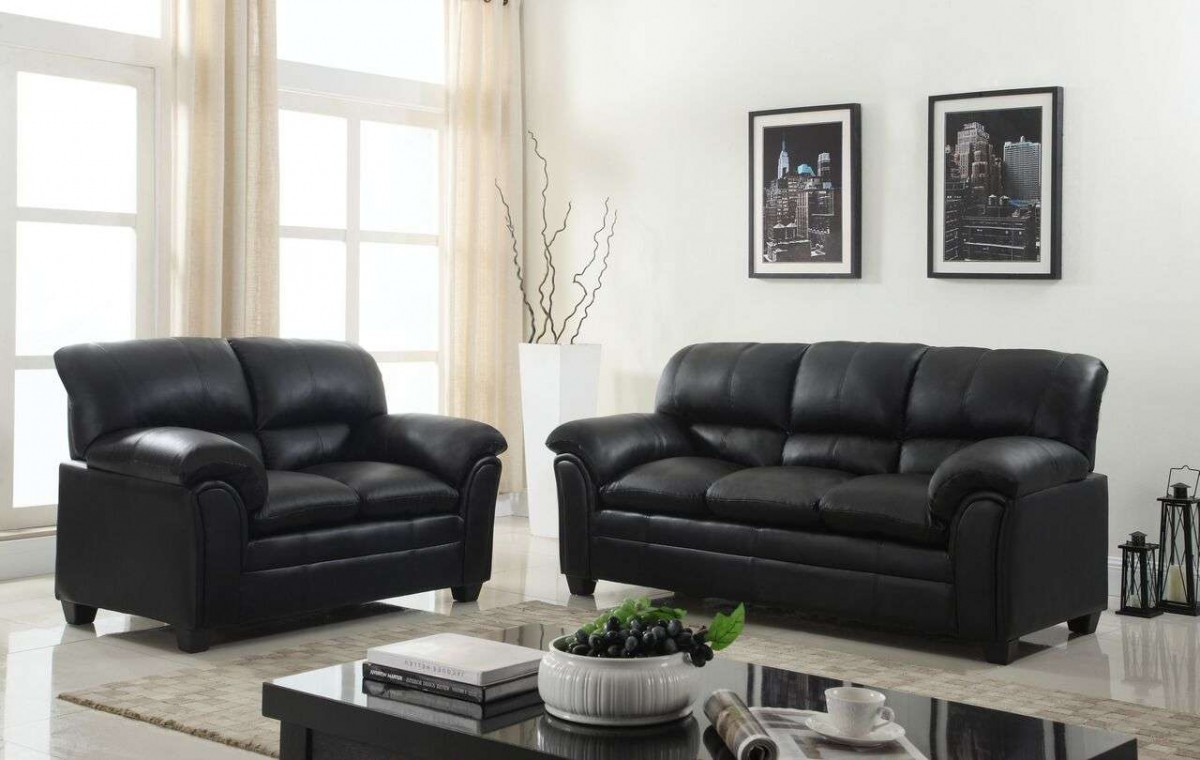 Global Trading Unlimited New Black Faux Leather Sofa and Loveseat Set