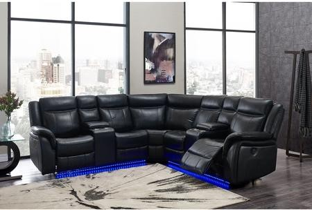 Sensational Global Furniture Usa Um02 Bl Sectional 3 Piece Sectional Sofa With Power Reclining Right Facing Loveseat With Console And Light Strip Power Reclining Frankydiablos Diy Chair Ideas Frankydiabloscom