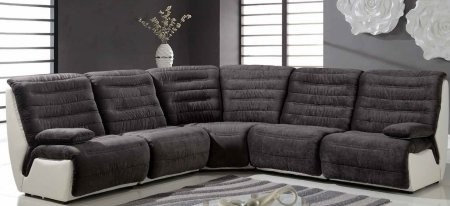 Global Furniture Usa U7220 Sec Five Piece Sectional Sofa With Fabric Upholstery In Elizabeth Charcoal