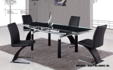 88dt Bl 31 Height Dining Table With Black Glass And Black Legs