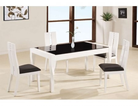 Global Furniture Usa 822dt Contrasting Black And White Contemporary Dining Table