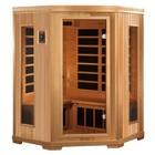 """Golden Designs GDI-3356-01 77"""" Low EMF Far Infrared Corner Sauna with 3 Person Capacity  10 Carbon Heating Elements  Tempered Glass Door and Chromotherapy Lighting"""