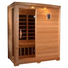 """Golden Designs GDI-3306-01 77"""" Low EMF Far Infrared Sauna with 3 Person Capacity  9 Carbon Heating Elements  Tempered Glass Door  and Chromotherapy Lighting"""