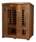 """Golden Designs GDI-6444-01 77"""" Low EMF Far Infrared Sauna with 3 Person Capacity  9 Carbon Heating Elements  Tempered Glass Door  Chromotherapy Lighting and Radio with CD and MP3 Auxiliary Connection"""