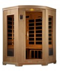 """Golden Designs GDI-6235-02 77"""" Low EMF Far Infrared Sauna with 3 Person Capacity  10 Carbon Heating Elements  Exterior Accent Lighting  Radio with Auxiliary Connector and Chromotherapy Lighting"""