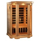 """Golden Designs GDI-6272-01 77"""" Low EMF Far Infrared Sauna with 2 Person Capacity  6 Carbon Heating Elements  Bronze Tinted Glass  Chromotherapy Lighting and Radio with CD and MP3 connection"""