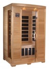 """Golden Designs GDI-6232-01 77"""" Low EMF Far Infrared Sauna with 2 Person Capacity  6 Carbon Heating Elements  Tempered Glass Door  MP3 Auxiliary Connection and Chromotherapy Lighting"""