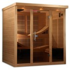 """Golden Designs GDI-6996-01 79"""" Near Zero EMF Far IR Sauna with 6 Person Capacity  15 Carbon Heating Elements  15"""" LCD Monitor with DVD Player  FM and CD Radio with MP3 Connection and Built in Speakers"""