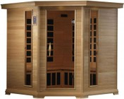 """Golden Designs GDI-6445-01 77"""" Near Zero EMF Far Infrared Corner Sauna with 4-5 Person Capacity  12 Carbon Heating Elements  Tempered Glass Door  Chromotherapy Lighting and Radio with CD and MP3 Connection"""
