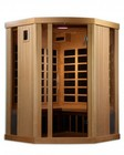 """Golden Designs GDI-6365-01 77"""" Near Zero EMF Far Infrared Sauna with 3 Person Capacity  11 Carbon Heating Elements  Exterior Ambient Lighting and Radio with CD and MP3 Auxiliary Connection"""