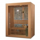 """Golden Designs Vasteras Luxury Edition GDI-7289-01L 78"""" Traditional Steam Sauna with 2-3 Person Capacity   6KW Stove  Galaxy Star Color Therapy Lighting System and Stone Finish on Interior Wall"""