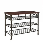 Hawthorne Collections Wood Top Kitchen Island in Cognac