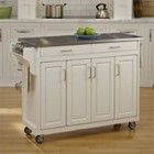 """Hawthorne Collections 49"""" Stainless Top Kitchen Cart in White"""