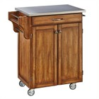 Hawthorne Collections Cottage Oak Wood Cart with Stainless Steel Top