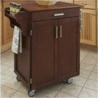 Hawthorne Collections Kitchen Cart with Oak Top in Cherry