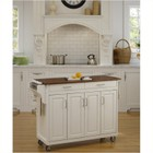 Hawthorne Collections Kitchen Cart with Oak Top in White