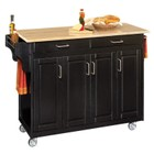 """Hawthorne Collections 49"""" Wood Top Kitchen Cart in Black"""