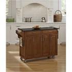 "Hawthorne Collections 49"" Black Granite Top Kitchen Cart in Oak"