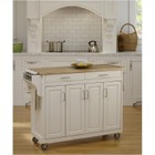 """Hawthorne Collections 49"""" Wood Top Kitchen Cart in White"""