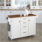 Hawthorne Collections Kitchen Cart with Distressed Oak Top in White