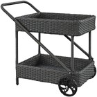 Hawthorne Collection Rattan Patio Bar Cart in Chocolate