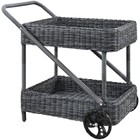 Hawthorne Collection Rattan Patio Bar Cart in Gray