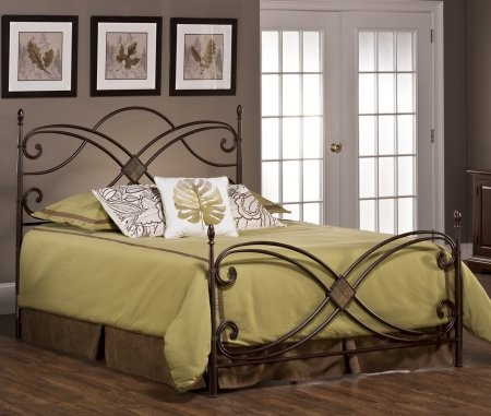 Hillsdale Furniture 1163BQR Barcelona Queen Size Poster Bed Set With Rails  Included Diamond Slate Motif Oblong ...