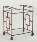 "Home Trends & Design Mirabelle WMR130 25"" Trolley with Clear Glass Top  Clear Glass Bottom Shelf  Casters  Solid Iron Base and Copper in Brown Color"