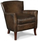 "Hooker Furniture Inscription Series CC838-01-086 31"" Traditional-Style Living Room Art Club Chair with Tapered Legs  Nail Head Accents and Leather Upholstery in Dark Brown"