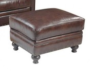 "Hooker Furniture Isadora Series CC423-OT-086 28"" Traditional-Style Living Room Vineyard Ottoman with Turned Legs  Piped Stitching and Leather Upholstery in Brown"