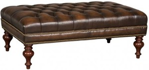 "Hooker Furniture Sarzana Series CO385-085 48"" Traditional-Style Living Room Fortress Tufted Cocktail Ottoman with Tufted Detailing  Tapered Legs and Leather Upholstery in Medium Brown"