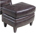 "Hooker Furniture Hollister Series CC872-OT-093 25"" Traditional-Style Living Room Mountain Ottoman with Tapered Legs  Piped Stitching Accents and Leather Upholstery in Dark Brown"