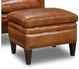 "Hooker Furniture Huntington Series CC419-OT-085 24"" Traditional-Style Living Room Morrison Ottoman with Nail Head Accents  Tapered Legs and Leather Upholstery in Brown"