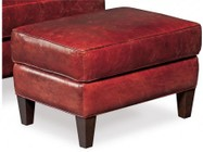 "Hooker Furniture Covington Series CC409-OT-069 28"" Casual-Style Living Room Bogue Ottoman with Tapered Legs  Piped Stitching and Leather Upholstery in Red"