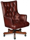 "Hooker Furniture Sedona Series EC360-087 45"" Traditional-Style Junipine Home Office Executive Swivel Tilt Chair with Tufted Back  Adjustable Height and Leather Upholstery in Red"
