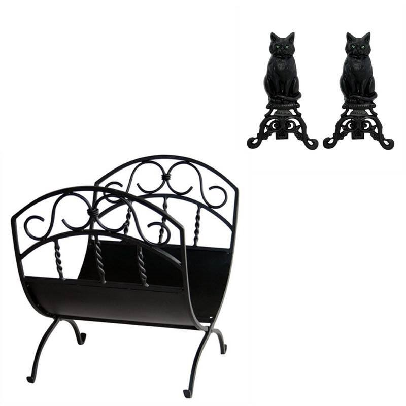 Home Square 2 Piece Fireplace Tool Set With Black Cast Iron Cats