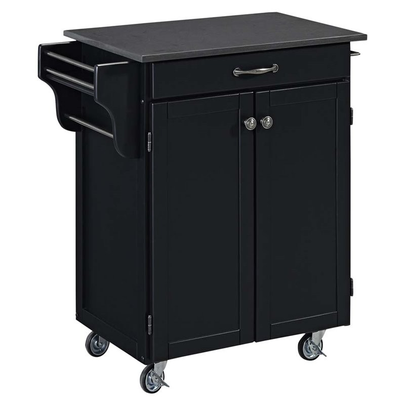 Home Styles Cuisine Quartz Top Kitchen Cart In Satin Black