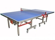 """Imperial International Pro 21-385 108"""" Foldable Outdoor Ping Pong Table with Melamine Table Top  Stainless Steel Frame and 8 Locking Wheels in Silver and Blue"""