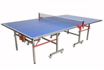 """Imperial International Master Series 21-365 108"""" Foldable Outdoor Ping Pong Table with Stainless Steel 35mm Legs and Frame  Paddle and Ball Storage Included and 8 Locking Wheels in Blue"""