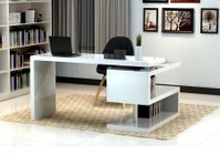 "J and M Furniture 17914 A33 55"" Modern Office Desk with S-design Bookcase in White Lacquer Finish"