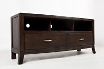 "Jofran Downtown 1688-60 60"" Media Console with 2 Drawers  Wire Management and 3 Top Compartments in a Rich Finish"